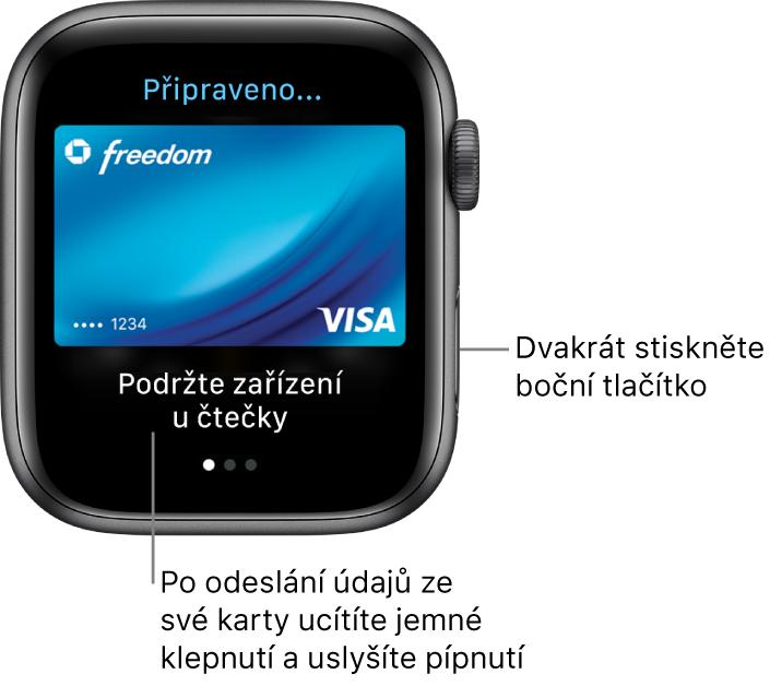 """Obrazovka Apple Pay spopiskem """"Připraveno"""" nahoře a""""Podržte zařízení učtečky"""" dole; po odeslání údajů karty ucítíte jemné klepnutí auslyšíte pípnutí."""