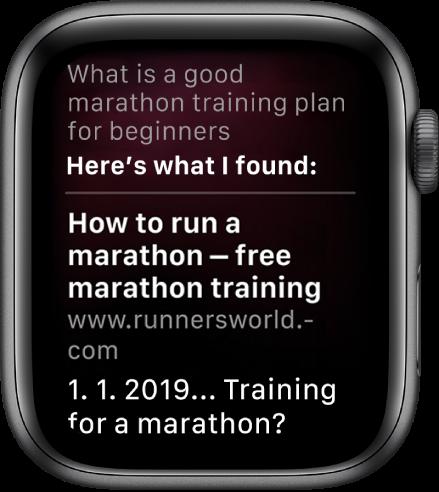 """Siri zobrazuje odpověď zwebu na otázku: """"What is a good marathon training plan for beginners"""""""