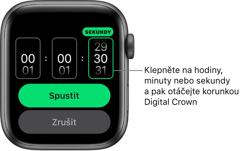 Nastavení pro vytvoření vlastní minutky shodinami vlevo, minutami uprostřed asekundami vpravo. Dole se nachází tlačítko Spustit.