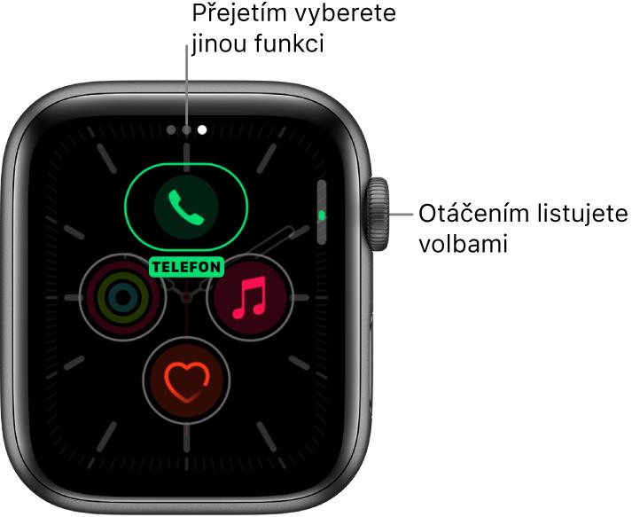 Obrazovka přizpůsobení ciferníku Poledník se zvýrazněnou komplikací Telefon. Otáčením korunky Digital Crown můžete měnit nastavené volby.