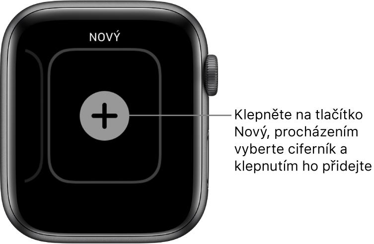 Obrazovka nového ciferníku stlačítkem plus uprostřed. Klepnutím na něj přidáte nový ciferník.
