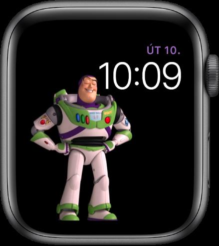 Ciferník Toy Story zobrazující den, datum ačas vpravo nahoře aanimovanou postavičku Buzze Rakeťáka vlevo uprostřed obrazovky