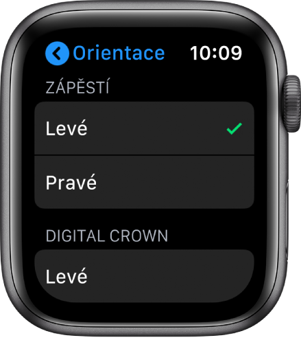 Obrazovka Orientace na AppleWatch. Můžete zde nastavit zápěstí aorientaci korunky Digital Crown.