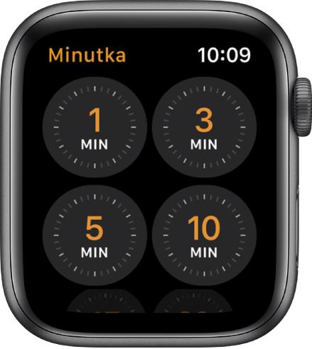 Obrazovka aplikace Minutka srychlými volbami nastavení minutky na 1, 3, 5 a10minut.