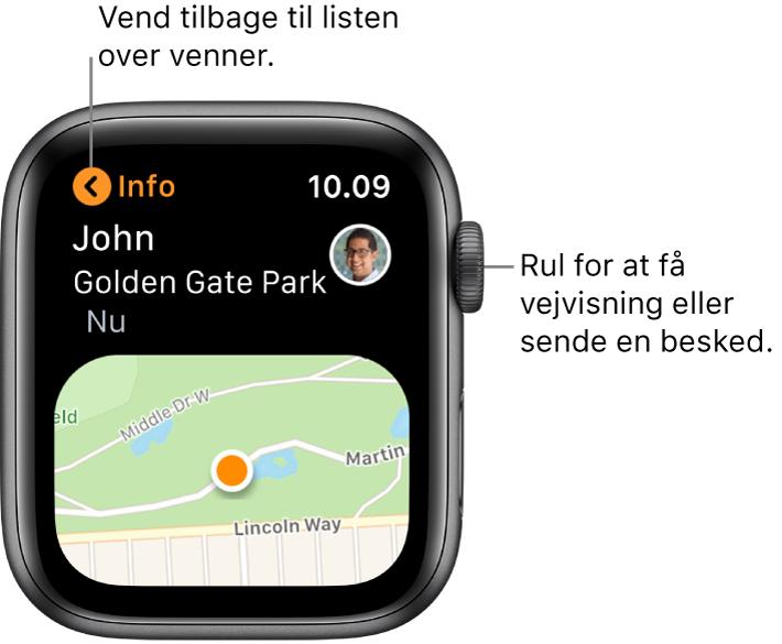 En skærm, der viser oplysninger om en vens lokalitet, bl.a. afstanden til vennen og vennens lokalitet på et kort.