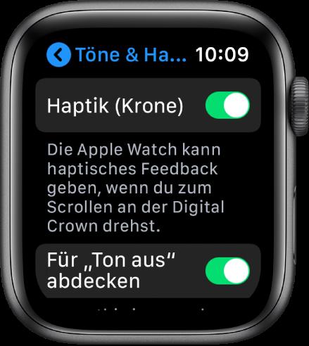 """Der Bildschirm """"Haptik (Krone)"""" mit aktiviertem Schalter """"Haptik (Krone)""""."""