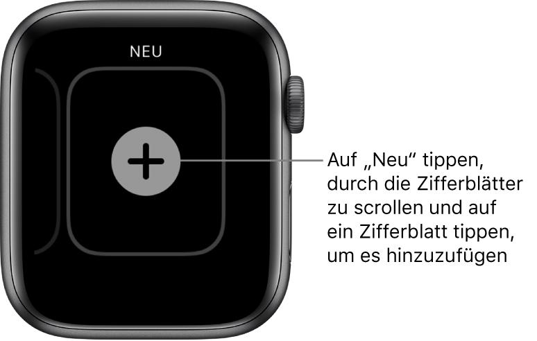 Bildschirm für neue Zifferblätter mit einer Plustaste in der Mitte. Tippe, um ein neues Zifferblatt hinzufügen.