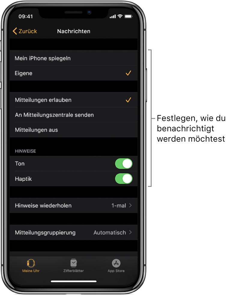 """Einstellungen für """"Nachrichten"""" in der App """"AppleWatch"""" auf dem iPhone. Du kannst auswählen, ob Hinweise angezeigt werden sollen sowie den Ton oder die Haptik aktivieren und Hinweise wiederholen lassen."""