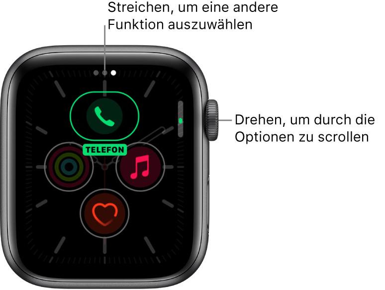 """Der Bildschirm zur Anpassung des Zifferblatts """"Meridian"""" mit hervorgehobener iPhone-Komplikation. Drehe die Digital Crown, um die Optionen zu ändern."""