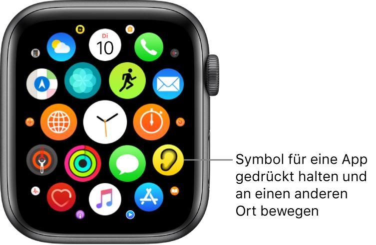 """Home-Bildschirm auf der AppleWatch in der Rasterdarstellung. Die Beschreibung lautet """"Halte das Symbol für eine App gedrückt und bewege es an eine andere Stelle""""."""