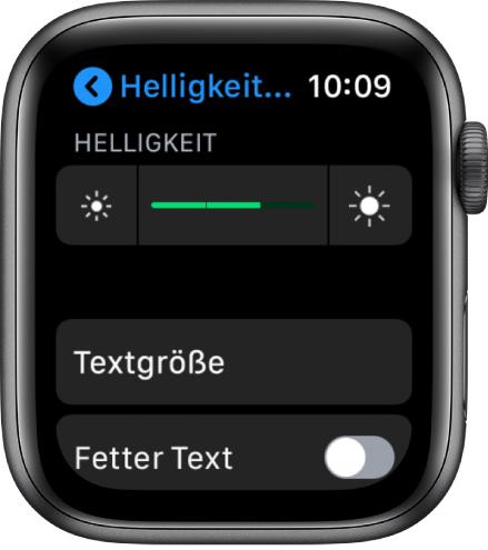"""Helligkeitseinstellungen auf der AppleWatch mit dem Helligkeitsregler oben, der Taste """"Textgröße"""" darunter und der Steuerung """"Fetter Text"""" unten."""