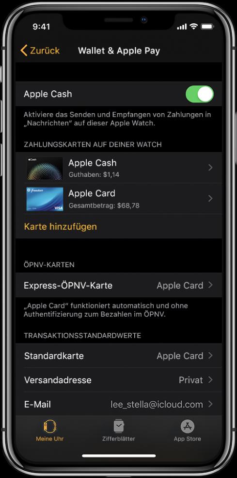 """Bildschirm """"Wallet & ApplePay"""" in der App """"Apple Watch"""" auf dem iPhone. Es werden die Karten angezeigt, die du zur Apple Watch hinzugefügt hast, sowie die Express-ÖPNV-Karten und die Standardeinstellungen für Transaktionen."""