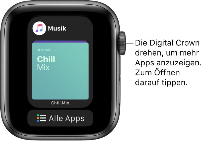 """Dock mit der App """"Musik"""" und der Taste """"Alle Apps"""" darunter. Drehe die Digital Crown, um weitere Apps anzuzeigen. Tippe auf eine App, um sie zu öffnen."""