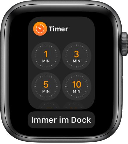 """Die App """"Timer"""" im Dock und darunter die Taste """"Im Dock behalten""""."""