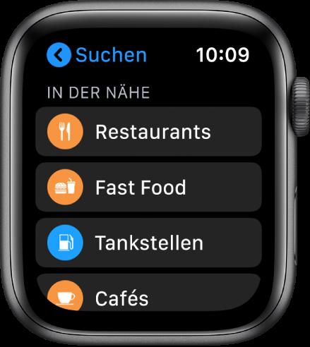 """Die App """"Karten"""", die eine Liste von Kategorien anzeigt: Restaurants, Fast Food, Tankstellen, Cafés und mehr."""