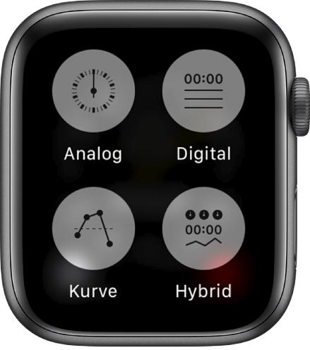 """Wenn die App """"Stoppuhr"""" geöffnet ist und das Display gedrückt wird, zeigt der Bildschirm vier Tasten, die es ermöglichen, das Format einzustellen: Analog, Digital, Graph oder Hybrid."""