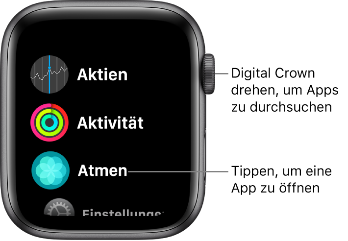 Home-Bildschirm in Listendarstellung auf der Apple Watch mit Apps in einer Liste. Tippe auf eine App, um sie zu öffnen. Scrolle, um mehr Apps anzuzeigen.