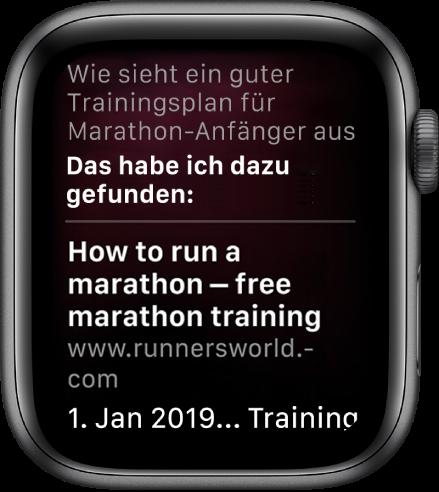 """Siri antwortet auf die Frage """"Gibt es einen guten Marathontrainingsplan für Anfänger?"""" mit einer Antwort aus dem Web."""