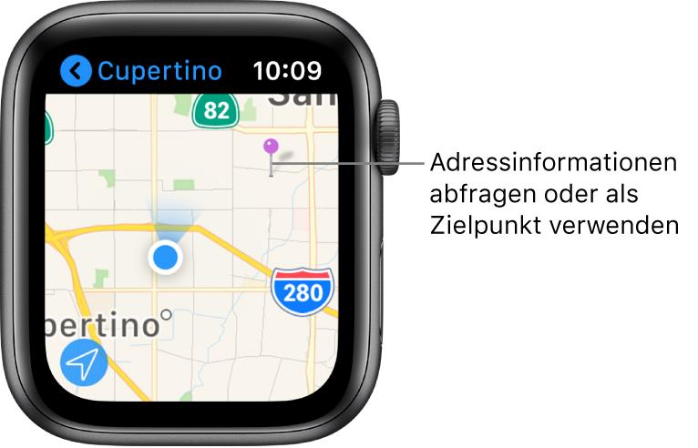 """Die App """"Karten"""" mit einer Karte, auf der eine lila Stecknadel platziert wurde, die verwendet werden kann, um die ungefähre Adresse eines Punktes auf der Karte herauszufinden, oder als Ziel einer Route."""