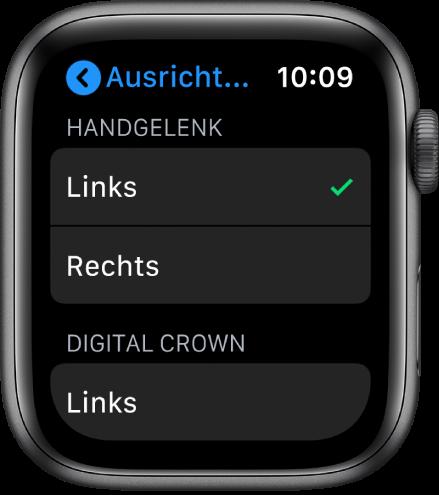 """Der Bildschirm """"Ausrichtung"""" auf der Apple Watch. Du kannst die Einstellungen für Handgelenk und Digital Crown ändern."""