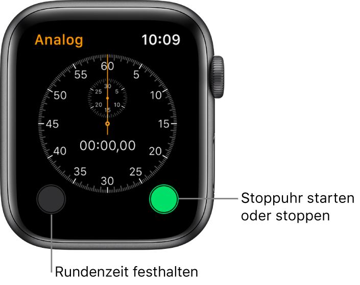 Analoge Stoppuhr. Tippe auf die rechte Taste zum Starten und Stoppen und auf die linke Taste, um Rundenzeiten aufzuzeichnen.