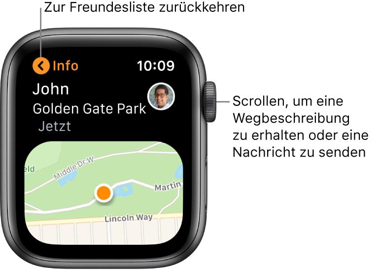Ein Bildschirm mit Details zum Standort eines Freundes, einschließlich der Entfernung und des Standorts auf einer Karte.