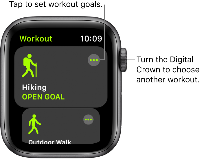 The Workout screen with the Hiking workout highlighted. A More button is at the top right. A portion of the Outdoor Walk workout is below.
