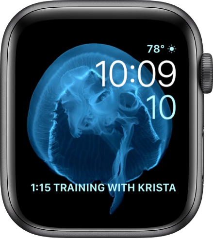 The Motion watch face showing a jellyfish. You can choose which object is in motion and add several complications.