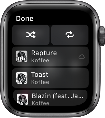 The tracklist window showing shuffle and repeat buttons at the top, and then three tracks below. A Done button appears at the top left.
