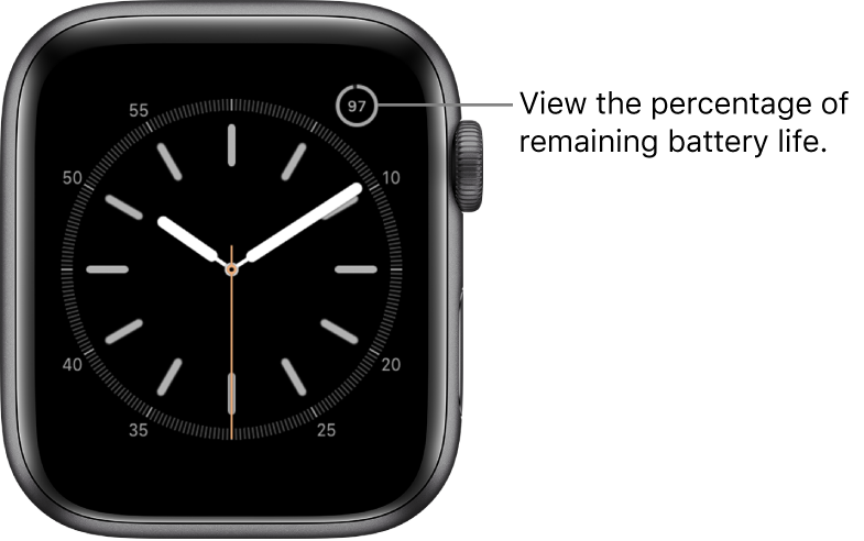 Watch face showing the battery percentage feature in the top-right corner.
