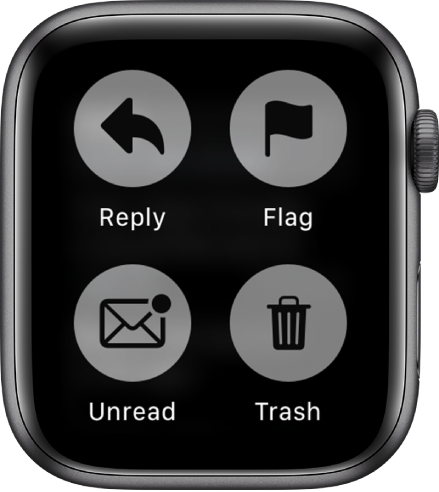 When you press the display while viewing a message on Apple Watch, four buttons appear on the screen: Reply, Flag, Unread, and Trash.