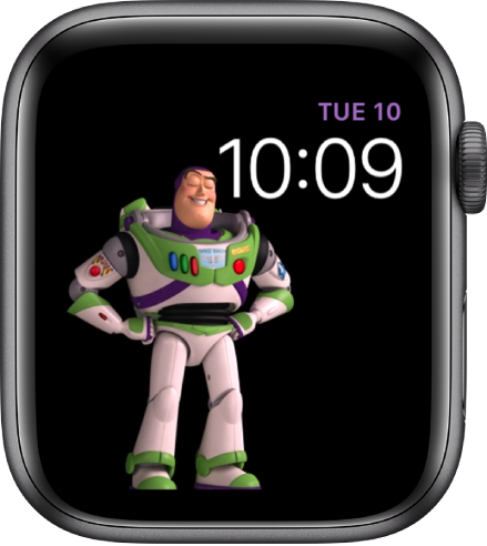 The Toy Story watch face shows the day, date, and time at the top right and an animated Buzz Lightyear in the middle left of the screen.