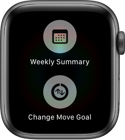The Activity app screen showing the Weekly Summary button and Change Move Goal button.