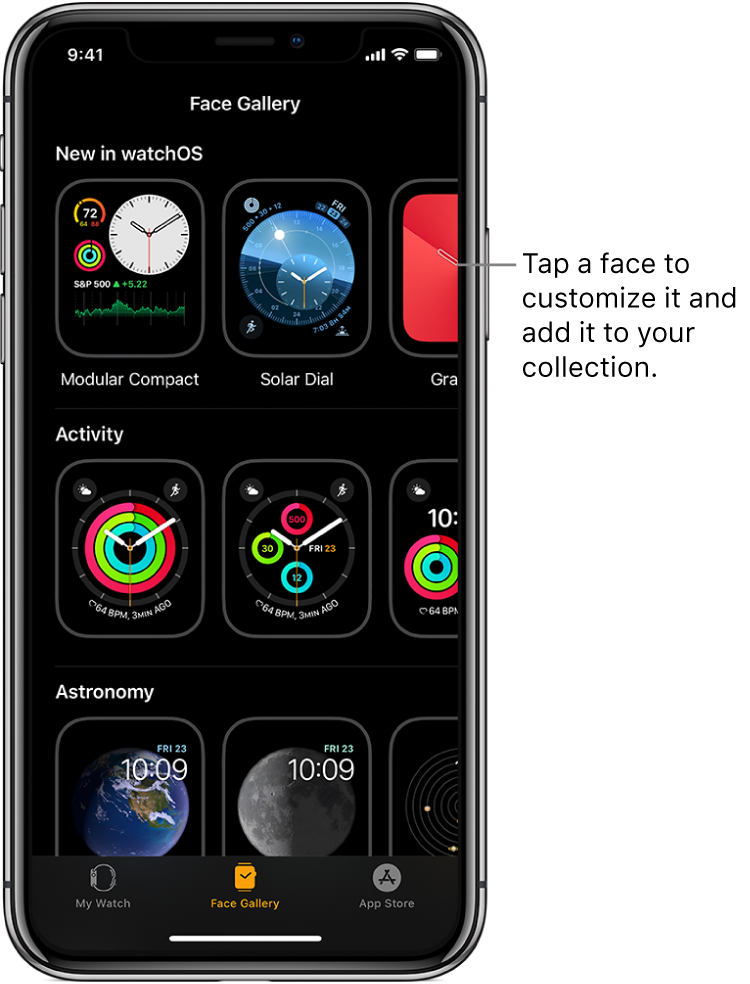 Apple Watch app open to the Face Gallery. The top row shows faces that are new, the next rows show watch faces grouped by type—Activity and Astronomy, for example. You can scroll to see more faces grouped by type.