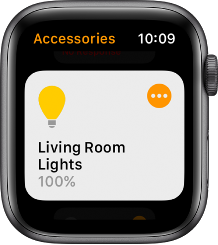 Home app showing a lighting accessory. Tap the icon in the top-right corner of the accessory to adjust its settings.