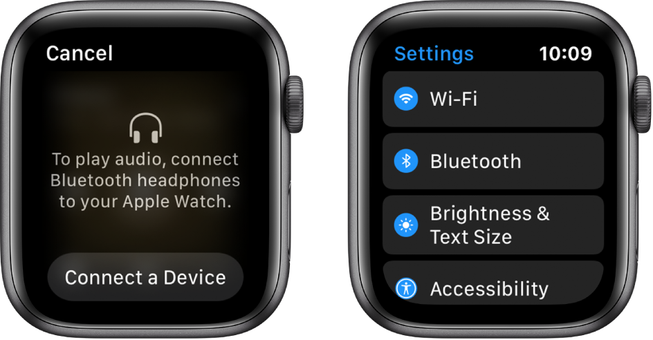 If you switch the audio source to your Apple Watch before you pair Bluetooth speakers or headphones, a Connect a Device button appears at the bottom of the screen that takes you to Bluetooth settings on your Apple Watch, where you can add a listening device.