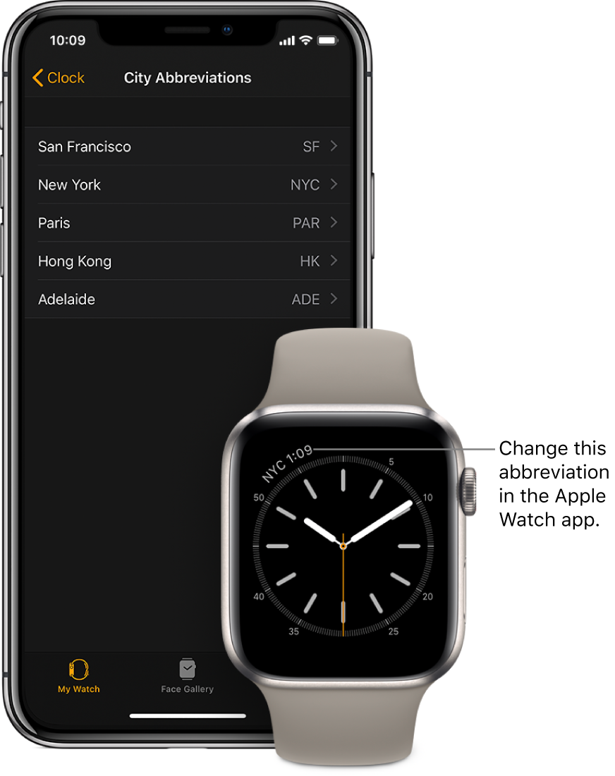An iPhone and Apple Watch, side by side. The Apple Watch screen shows the time in New York City, using the abbreviation NYC. The iPhone screen shows the list of cities in City Abbreviations settings, in Clock settings in the Apple Watch app.