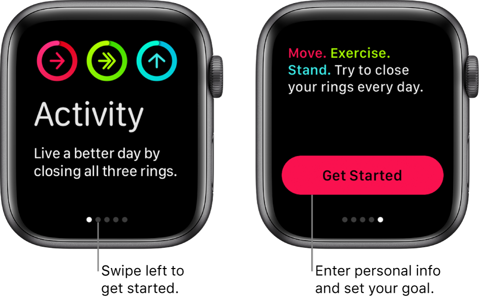 Two screens: One shows the opening screen of the Activity app, the other shows the Get Started button.