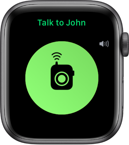 """The Walkie-Talkie screen showing a Talk button in the middle, volume indicator at the top right, and """"Talk to John"""" at the top."""
