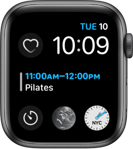 The Infograph Modular watch face showing the day, date, and time at the top right, Calendar is in the middle, and three subdials near the bottom.