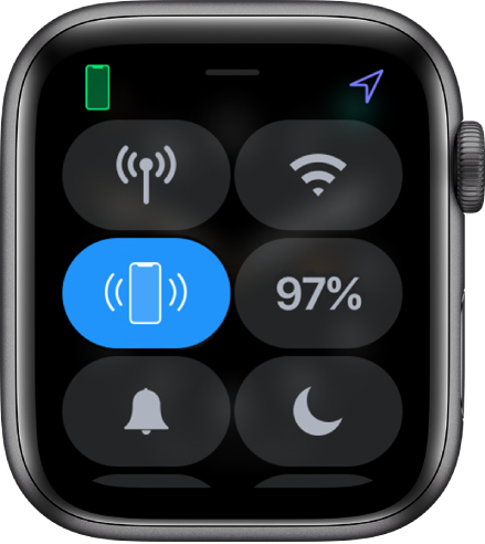 Control Center, with the Ping iPhone button shown at the center left.