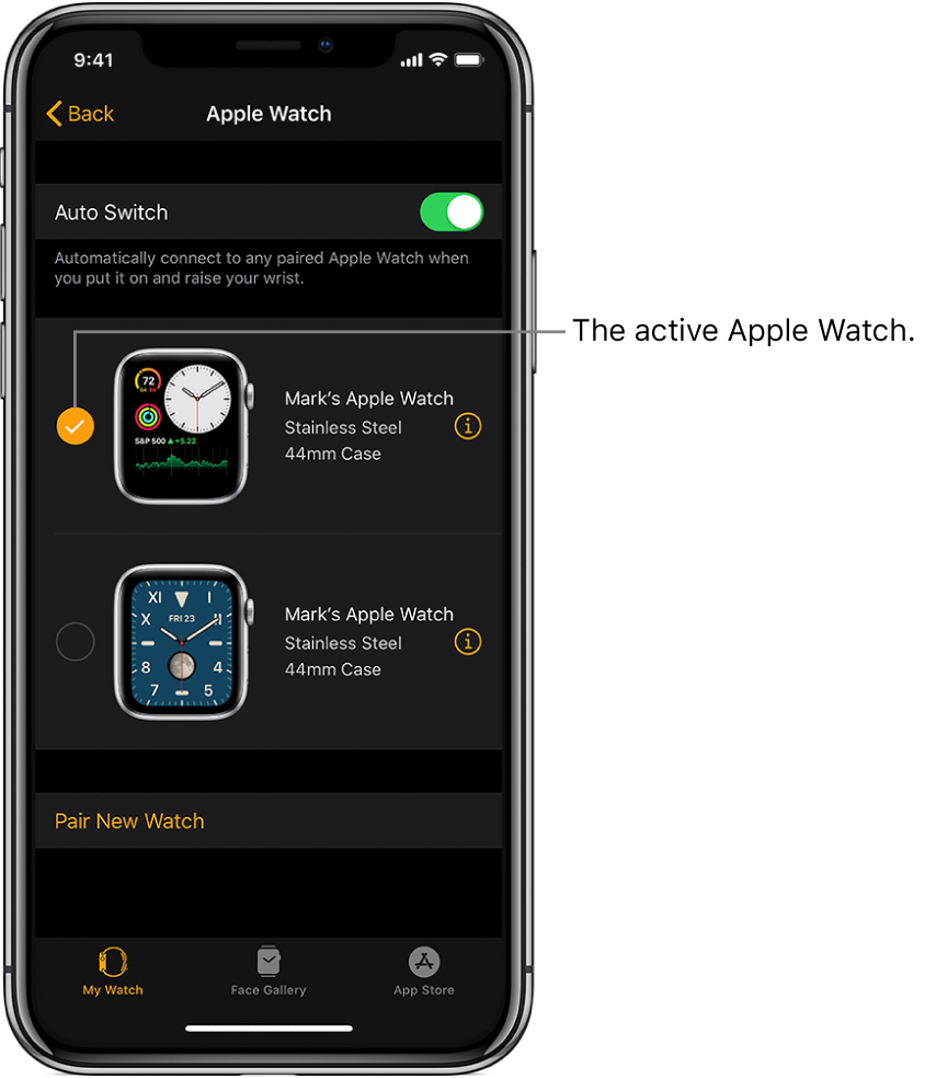 Checkmark shows the active Apple Watch.