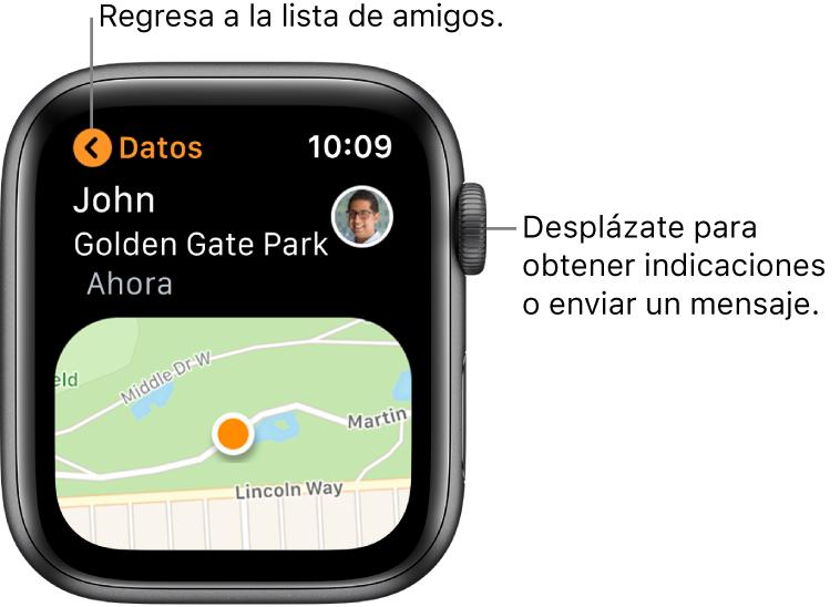 Una pantalla mostrando los detalles acerca de la ubicación de un amigo, incluyendo qué tan lejos están y su ubicación en un mapa.