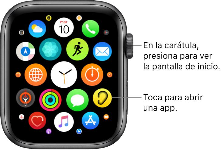 Pantalla de inicio con la visualización como cuadrícula en el AppleWatch, con apps en un grupo. Toca una app para abrirla. Arrastra para ver más apps.