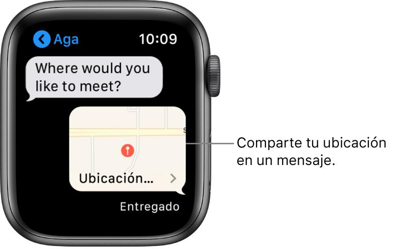 Pantalla de Mensajes mostrando un mapa con la ubicación del remitente.