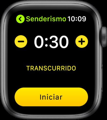La pantalla de objetivo mostrando el tiempo cerca de la parte superior, con los botones - y + en cada lado y el botón Iniciar en la parte inferior.
