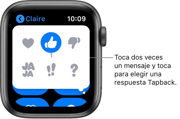 Una conversación de mensajes con opciones de respuesta Tapback: corazón, pulgar hacia arriba, jaja, !! y ?.