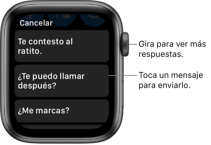 """Pantalla de Mensajes mostrando el botón Cancelar en la parte superior y tres respuestas preestablecidas (""""Te contesto al ratito"""", """"¿Te puedo llamar después?"""" y """"¿Me marcas?"""")."""