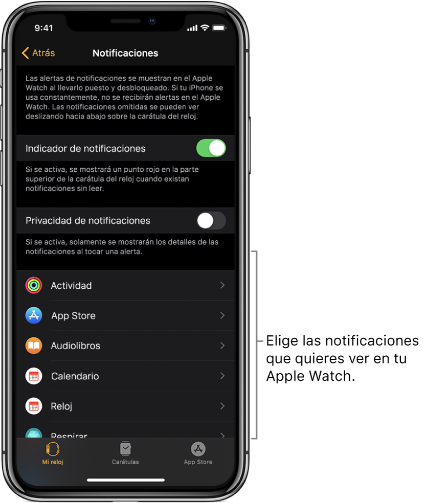 La pantalla Notificaciones en la app Apple Watch en el iPhone mostrando fuentes de notificaciones.