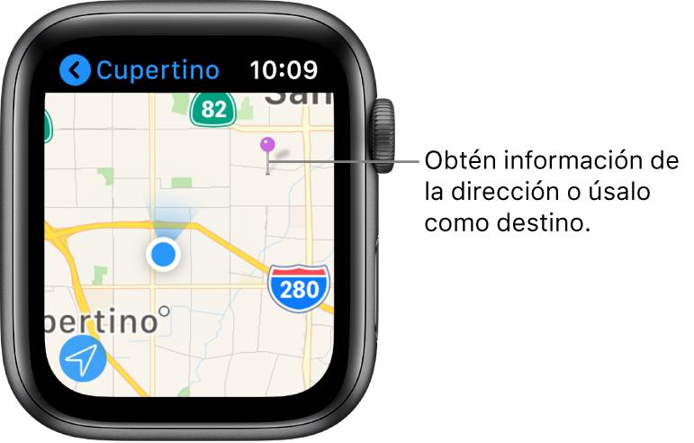 La app Mapas muestra un mapa con un marcador morado, que se usa para obtener la dirección aproximada de un punto en el mapa o como un destino para las indicaciones.